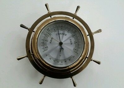 Vintage Ships Wheel Style Brass effect Barometer + Thermometer
