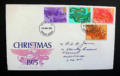 Stamps of Great Britain Christmas    First Day Cover 1975 Pegasus