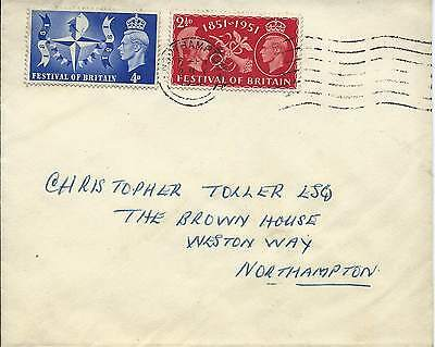 GB 1951 Festival of Britain Set (2) on FDC with Northampton Wavy Line Cancel