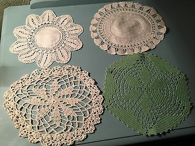 A Set Of Four Vintage Crocheted Doilies Ideal Christmas Present
