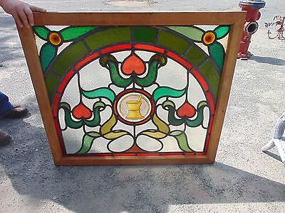 Antique Stained Glass Window Architectural Salvage Drug Store  Pharmacy Medical