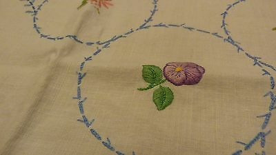 Vintage Hand Embroidered Irish Linen Tablecloth
