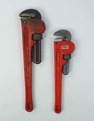 """Lot of 2 - RIDGID HEAVY DUTY Pipe Wrench 18"""" 14"""" Hand Tools"""