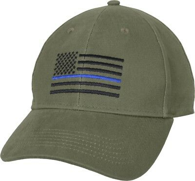 Olive Drab Thin Blue Line USA Flag Support Police Low Profile Baseball Cap 64fe0608b08