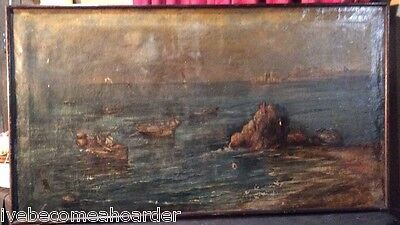 Antique Victorian Estate Coastal Harbor Fishing Trade Oil Painting On Canvas