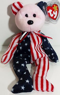 "TY Beanie Babies ""SPANGLE (Pink Face)"" PATRIOTIC USA TEDDY BEAR - MWMTs! RETIRED"
