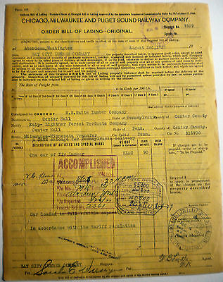 Chicago, Milwaukee and Puget Sound Railway Co. 1927 Bill of Lading - Railroad