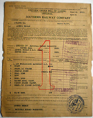Southern Railway Company - 1927 Bill of Lading - Railroad - Center Hall, PA