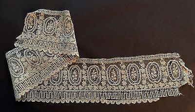 19th C. handmade Point de Gaze needle lace edging  STUDY COLLECT