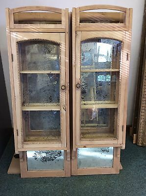 Pair Of Old Pine Shop Kitchen Wall Cupboards