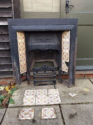 Antique Victorian Biclam Cast Iron Fireplace With Tiles