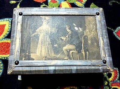 Antique Paper Covered Lithograph Image Sewing Box + Accessories