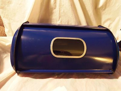Retro Cobalt Blue Enamel Roll Top Window Bread Box Excellent