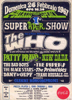 The Who Repro 1967 Bologna Italy 26 February Concert Poster . Not Cd Dvd