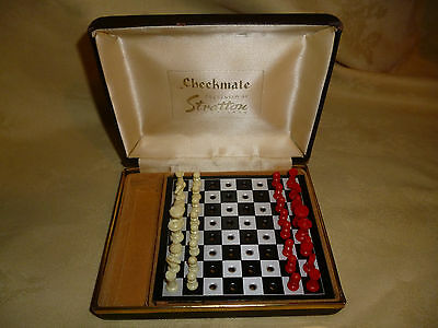 """Rare Vintage Travel Chess Set """"checkmate"""" Prestented By Stratton"""