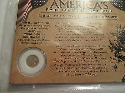 1862 Seated Liberty Silver Dime, carded w/ coin facts