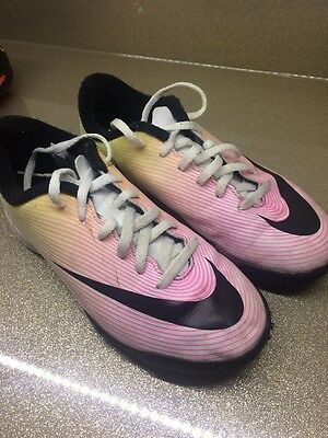 Nike Mercurial Pink White Yellow Boots Size Uk 2 Astro