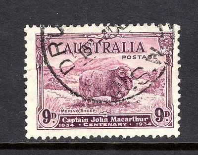 AUSTRALIA 1934 MACARTHUR sg152 9d BRIGHT PURPLE FINE USED CAT £50