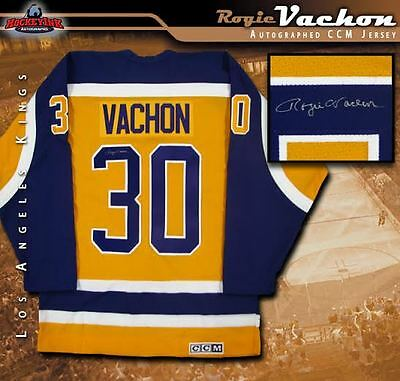 ROGIE VACHON Signed Los Angeles Kings Gold CCM Retro Jersey