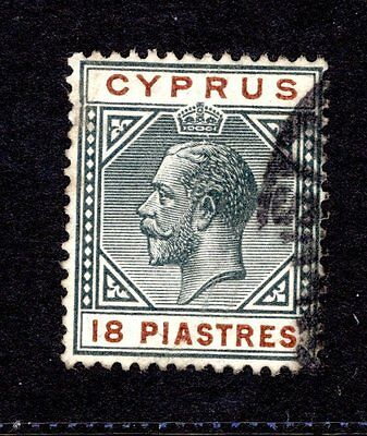 CYPRUS KGV 1912 sg83  18pi BLACK & BROWN GOOD TO FINE USED CAT £50