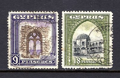 CYPRUS KGV 1934 sg141 + sg142 HIGHER VLUES GOOD TO FINE USED  CAT £63.50