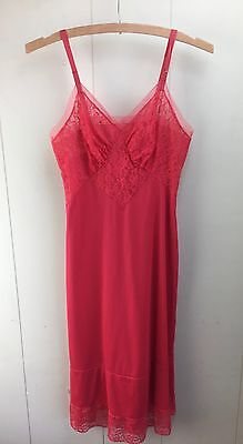 Vintage Vanity Fair Red Slip Sheer Floral Lace Cherry Size 32 Sexy Pinup Boudior
