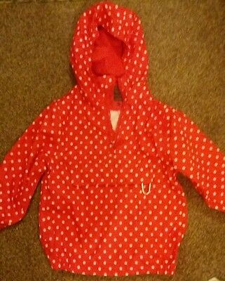 Waterproof rain coat kag in a bag girls age 3-4  red polka dot  Peter storm