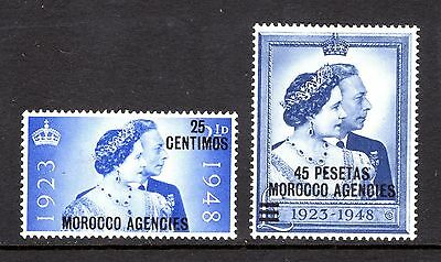 MOROCCO AGENCIES 1948 SILVER WEDDING sg176-7 MOUNTED MINT + SMALL HINGE CAT £18+