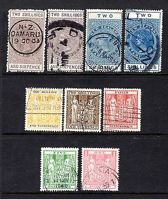 NEW ZEALAND STAMP DUTY + POSTAL FISCALS GOOD/FINE USED x 9 STAMPS VALUES TO £1