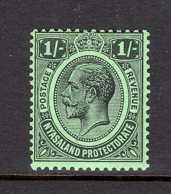 NYASALAND KGV 1921-33 sg108 1/- BLACK/EMERALD VERY LIGHTLY MOUNTED MINT CAT £14