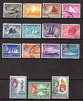SINGAPORE 1955 sg38-52  1 cent TO $5 FINE USED SET CAT £15