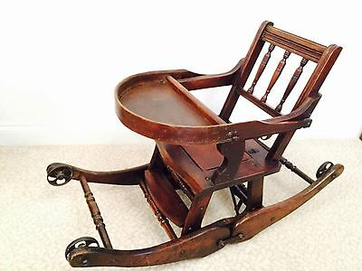 Rare, Antique Victorian Child's High Chair Folding Into A Rocking Chair
