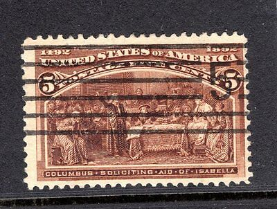 USA 1892 COLUMBUS 5c BROWN GOOD TO FINE USED STAMP NOT CAT BY ME