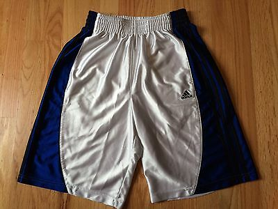 Adidas Athletic White Blue Shorts Youth Sz S Small