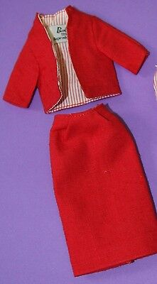 Vintage Barbie Reproduction #981 Busy Gal RED LINEN JACKET & SKIRT Tagged!