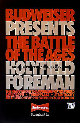 EVANDER HOLYFIELD vs. GEORGE FOREMAN / Original Budweiser Boxing Fight Poster
