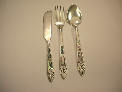 Vintage JJ Mexico sterling silver and Abalone place knife fork and spoon