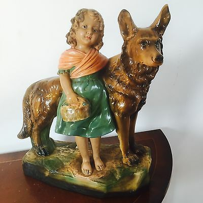 "Vintage Figurine Of A ""Girl & A Dog"", Ornament, Statues"