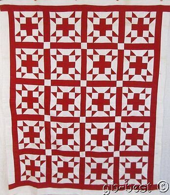 Antique 1900s Turkey Red Stars Cross QUILT Top 74 x 71""