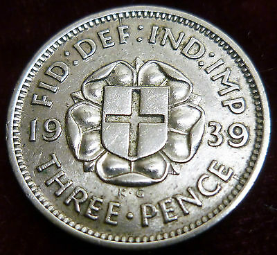 George V1 1939 silver Threepence 3d