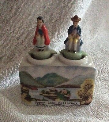Vintage Porcelain Irish Gaelic Rocking Novelty Condiment Set - Lake Killarney