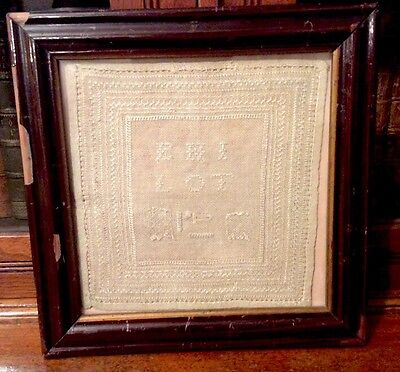 ANTIQUE EMBROIDERY SCHOOL SAMPLER - C. 1820/1830s - FRAMED