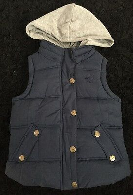 Girls Next Navy Puffer Waistcoat With Hood 5-6yrs