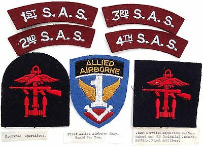 Wwii Military Patches 1St Allied Airborne, 1St 2Nd 3Rd 4Th S.a.s. & Commando