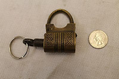 Vintage Brass Padlock *iron Working Key* Antique -