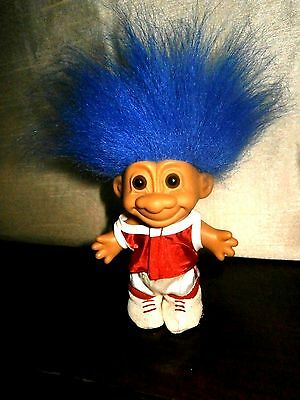 "VINTAGE,  RUSS, FOOTBALL, TYPE,  TROLL  DOLL. 8""  TALL. inc. HAIR."