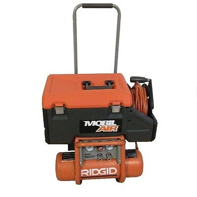 Used Ridgid Mobil Air 2.5 Gal Portable Compressor Pneumatic Hub Combo Of25135Cw
