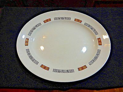 PLATTER  marked W H Grindley & Co. England Grecian Black Brown Yellow Design