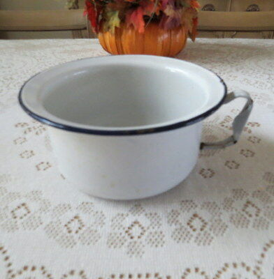 Vintage/antique French Country Enamel Pot Black & White With Handle Unique Style