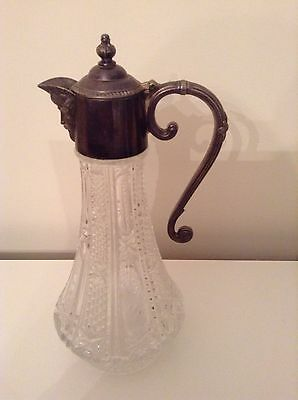 Vintage Silver Plate Cut Glass Decanter